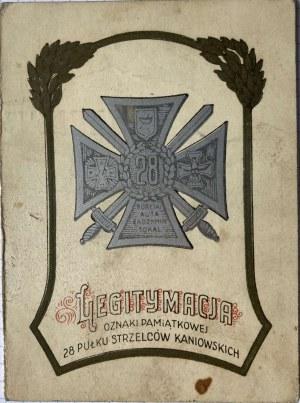 Legitymacja do odznaki pamiątkowej 28 Pułku Strzelców Kaniowskich dla starszego strzelca Edwarda Grabskiego