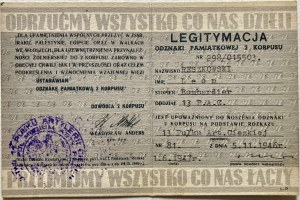 Legitymacja odznaki pamiątkowej Drugiego Korpusu