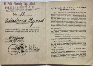 Legitymacja Przysposobienia Wojskowego nr 39 z dnia 24.VIII.1937