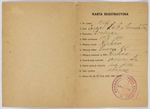 Karta rejestracyjna wydana przez Wojewódzki Komitet Żydowski w Krakowie