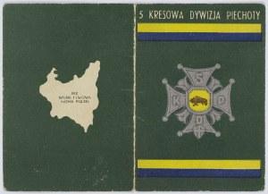 Legitymacja 5 Kresowa Dywizja Piechoty nr 14626 upoważniająca do noszenia Odznaki Pamiątkowej 5 KPD
