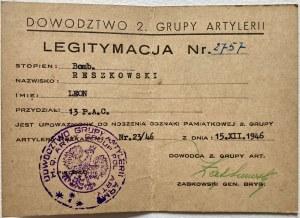 Legitymacja odznaki pamiątkowej Drugiej Grupy Artylerii z dnia 15.XII.1946