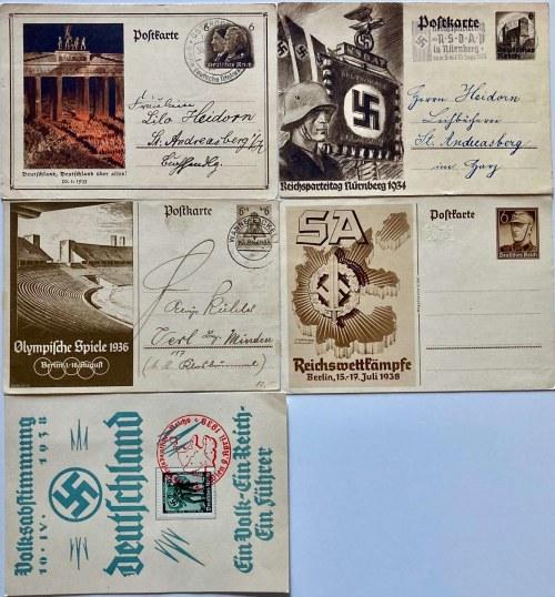 Zestaw 4 kart pocztowych z okresu III Rzeszy