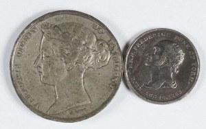 Wielka Brytania. Trzy medale: 2 medale z epoki wiktoriańskiej XIX w. oraz KORONACJA ELŻBIETY II - 1953