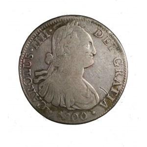 HISZPANIA Karol IV 8 reali bitych dla Meksyku 1800 FM