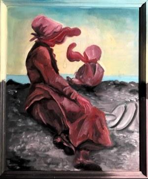 """Jakub Kępka (ur. 1996), Crimson Lady (Interpretacja obrazu Anny Bilińskiej-Bohdanowiczowej """"Nad brzegiem Morza""""), 2020"""