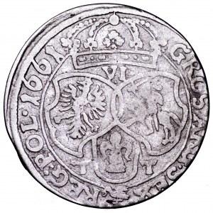 Jan II Kazimierz, szóstak 1661 TT - obwódki, rzadszy
