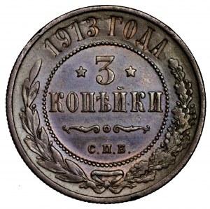 Rosja, Mikołaj II, 3 kopiejki 1913, St. Petersburg