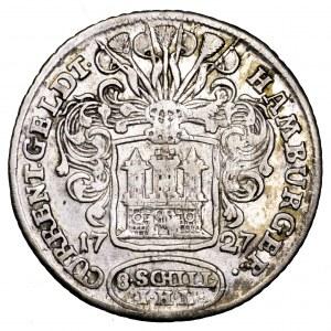 Niemcy, Hamburg, Karol VI, 8 szylingów 1727