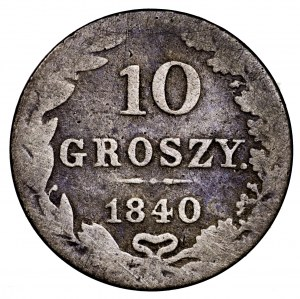 Królestwo Polskie, 10 groszy 1840 MW - kropka po GROSZY, rzadkie
