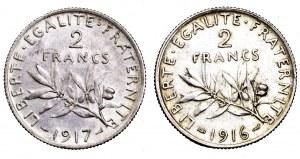 Francja, zestaw 2 x 2 franki (1916 i 1917)