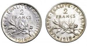 Francja, zestaw 2 x 2 franki (1915 i 1916)