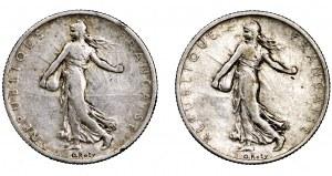 Francja, zestaw 2 x 2 franki (1899 i 1908)