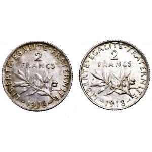 Francja, zestaw 2 x 2 franki (1916 i 1918)