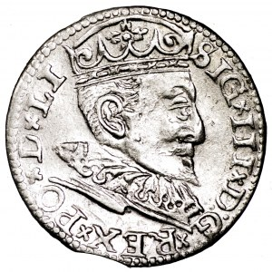 Zygmunt III Waza, trojak 1596, Ryga - bardzo ładny