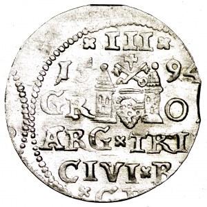 Zygmunt III Waza, trojak 1594, Ryga - bardzo ładny