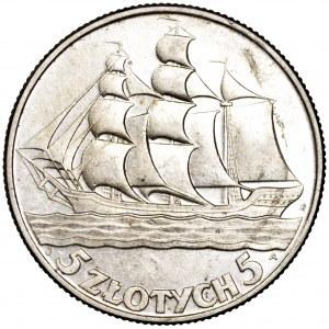 II Rzeczpospolita, 5 złotych 1936, Żaglowiec