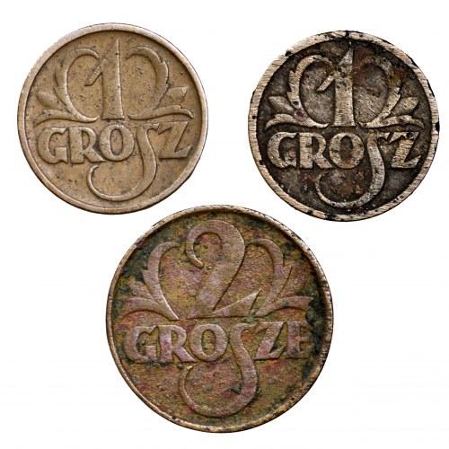 II Rzeczpospolita, zestaw 3 monet groszowych