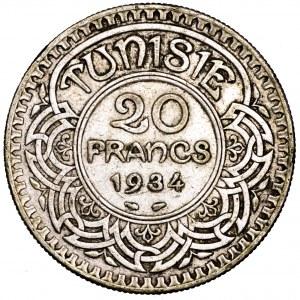 Tunezja, Ahmad II, 20 franków 1934 - rzadkie