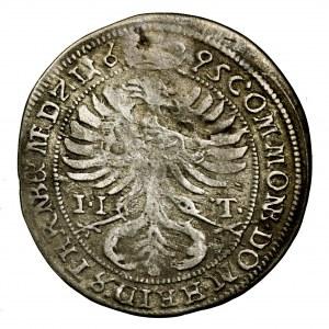 Śląsk, Sylwiusz Fryderyk, 3 krajcary 1695 II-T, Oleśnica - rzadkie