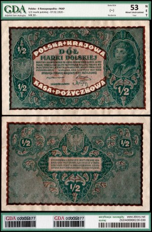 II Rzeczpospolita, 1/2 marki polskiej 7.02.1920 - GDA AU53 NET