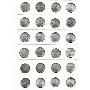 Francja, zestaw 24 monet 1 frank - piękne