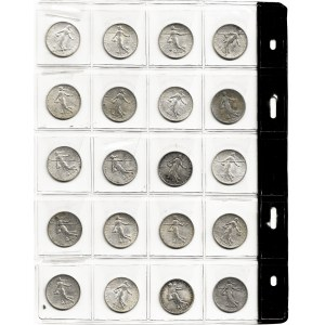 Francja, zestaw 20 monet 1 frank