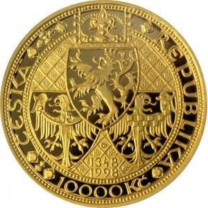 ČR [1993 - ...] / 10.000 Kč KAREL IV. Nové Město Pražské 1998 Proof, 34 mm, síla 2,85 mm, 31,10 g, Au 999.9, Au 999.9...