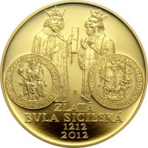 ČR [1993 - ...] / 10.000 Kč Zlatá bula sicilská 1oz 2012 Proof, 34 mm, síla 2.55 mm, 31.107 g, Au 999.9...
