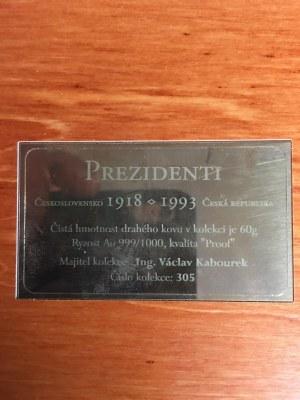 ČR [1993 - ...] / Sada 10 kusů AU medailí Prezidenti,  Československé a České Republiky, společná etue, certifikát...