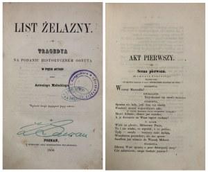 MAŁECKI - LIST ŻELAZNY. TRAGEDYA 1856 r.