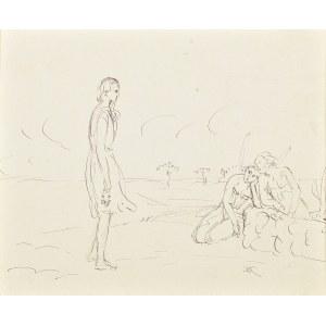 Wlastimil Hofman (1881-1970), Dziewczyna z aniołami | Portret Ady – żony artysty (rysunek dwustronny)