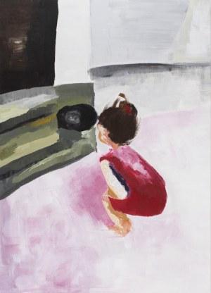 Natalia Kozarzewska, Dziewczynka przygląda się kotu, 2020