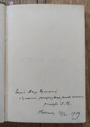 Ujejski Kornel • Wybór pism [dedykacja Ignacego Chrzanowskiego]