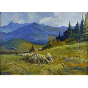 Michał STAŃKO (1901-1969), Pejzaż tatrzański z owcami