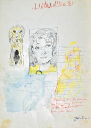 Janina MUSZANKA - ŁAKOMSKA (1920-1982), Portret młodej kobiety oraz godło Lwowa i inne szkice, ok. 1965