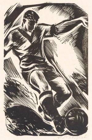 """Stanisław Raczyński (1903 - 1982) Piłka nożna, z teki """"Sport w grafice"""", 1954"""