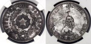 Paraguay 1 Peso 1888 Pattern NGC MS61