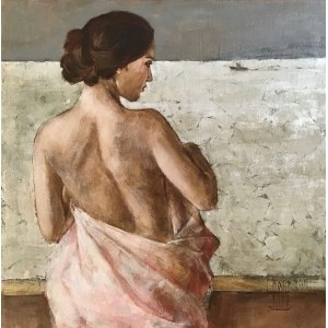 Monika Krzakiewicz, Akt z różowym ręcznikiem, 2020