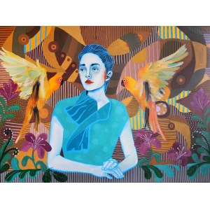 Marcin Painta, Ona i dwie papugi, 2018