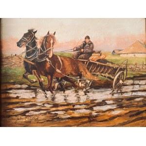 Juliusz Słabiak(1917-1973), ''Zaprzęg w dwa konie z woźnicą''
