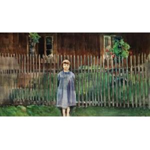 Julian FAŁAT (1853-1929), Widok z Bystrej. Córka artysty Kuka, 1907