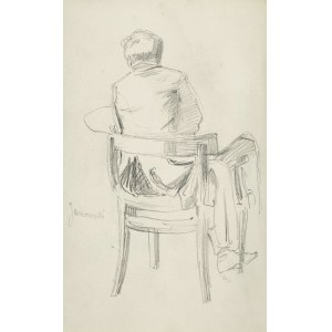 Stanisław KACZOR BATOWSKI (1866-1946), Szkic ukazanego tyłem mężczyzny siedzącego na krześle trzymającego sztalugę