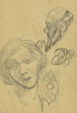 Stanisław KAMOCKI (1875-1944), Szkice różne: studium portretowe kobiety, profil zakonnika, winieta, monogram wiązany SK