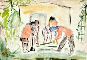 Krystyna PELLETIER (1914-2007), Porządki w ogrodzie