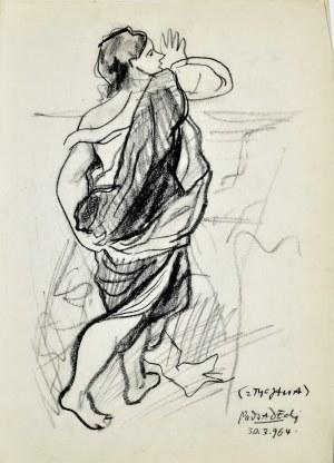 """Kazimierz PODSADECKI (1904-1970), Postać krocząca wg obrazu Tycjana """"Bachus i Ariadna"""", 1964"""