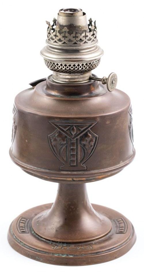 SECESYJNA LAMPA NAFTOWA, Niemcy, Lipsk, firma Wild & Wessel, pocz. XX w.