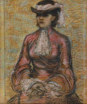 Stanisław ELESZKIEWICZ (1900-1963), Portret kobiety w kapeluszu