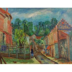 Yehuda RAZGOUR (1914-1979), Motyw z małego miasteczka, 1948