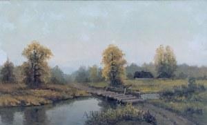 Wiktor Korecki (1890-1980), Pejzaż z rzeką i mostkiem, 2 poł. XX w.